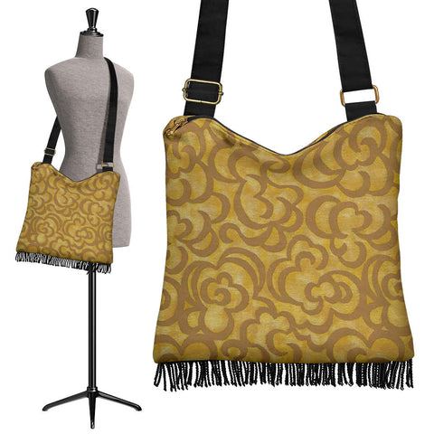 Golden Caramel Crossbody Boho Handbag