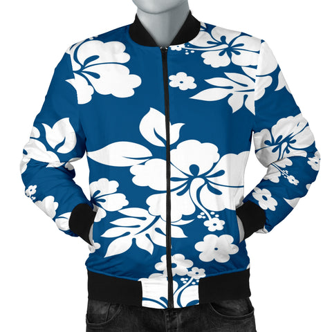 Hibiscus In Blue Men's Bomber Jacket