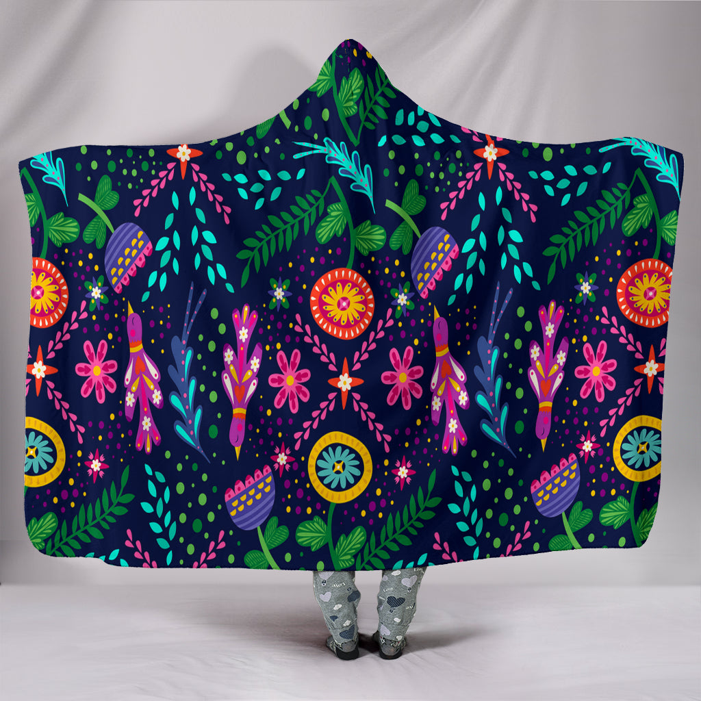 Birds And Flowers Hooded Blankets