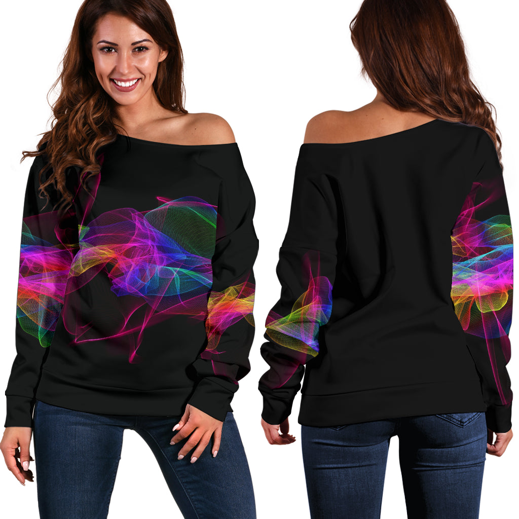 Brush Of Colors Off Shoulder Sweater