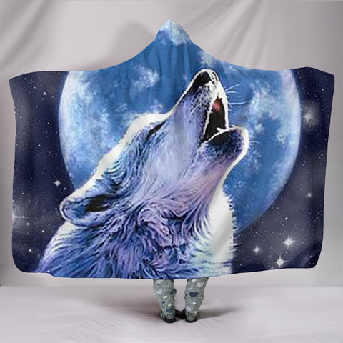 White Wolf Hooded Blanket