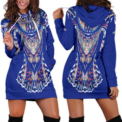 Blue Fierce Owl Women's Hoodie Dress