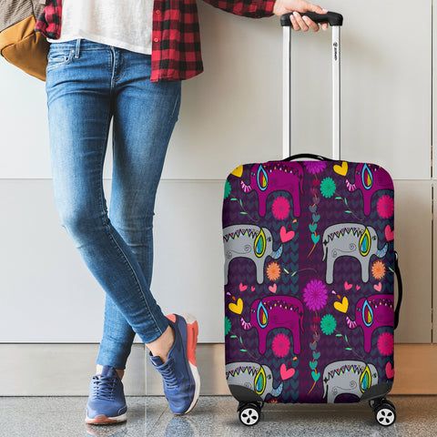Elephant Hearts and Flowers Luggage Covers