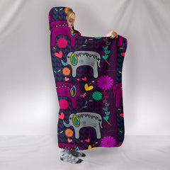 Elephant Hearts And Flowers Hooded Blankets
