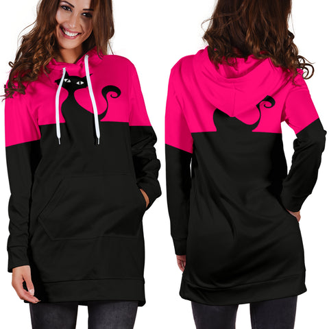 Cute Cat Women's Hoodie Dress