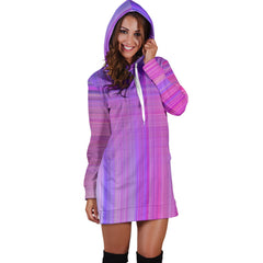 Colorful Straight Lines Women's Hoodie Dress