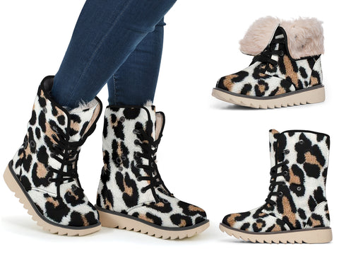 White Leopard Polar Boots - Express Shipping