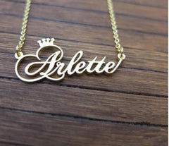 Custom Name Crown Pendant Necklace