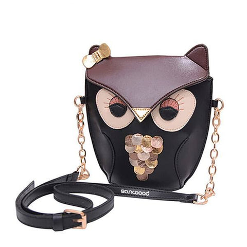 Owl Faux Leather Cross Body Messenger Bag