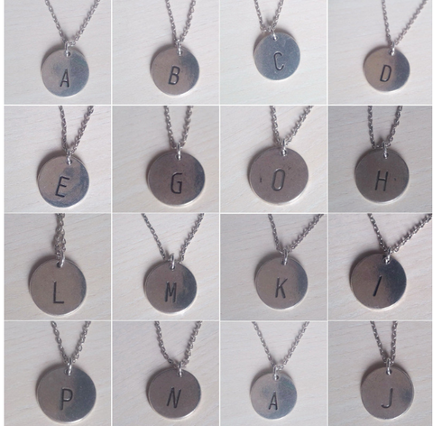 Italic Coin Initial Necklace