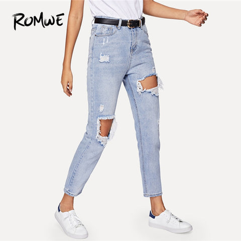 ROMWE Jeans Woman Cut Out Ripped Jeans For Women Blue Denim Trousers