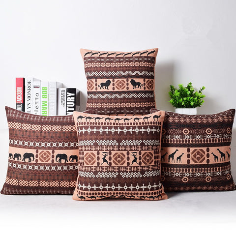 Passionate Elephant Floral Printed African Style Pillow Cover