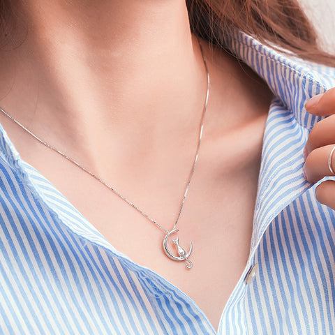 Silver Plated Cat Moon Necklace - FREE PLUS SHIPPING PROMOTION