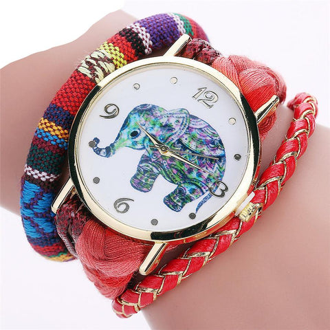 Handmade Braided Elephant Watch Bracelet