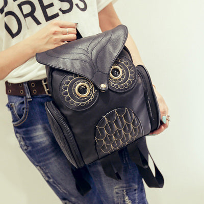 Cute Owl Leather Backpack