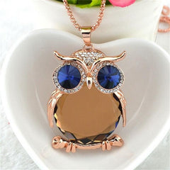 Owl Crystal Pendants Silver Necklace