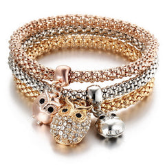 Gold Crystal Owl 3 Pcs/Set Bracelets - Free Plus Shipping Promotion