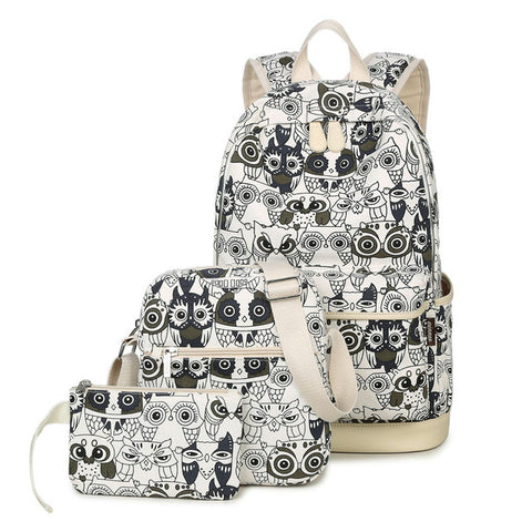 Owl Canvas Backpack Set