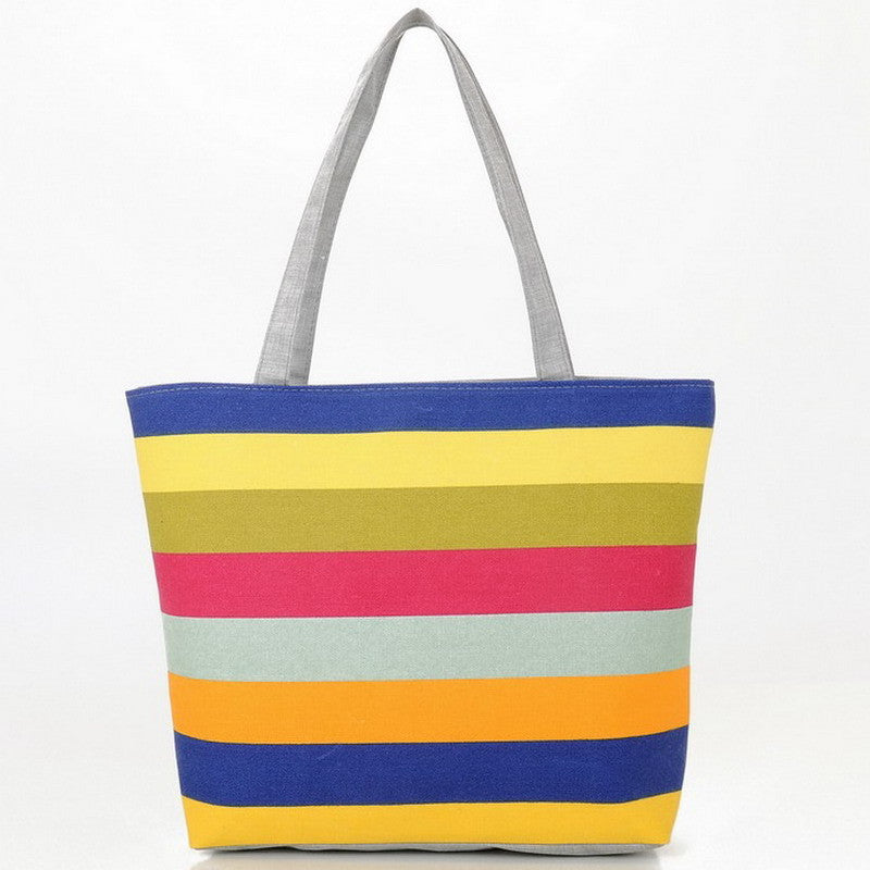 Summer  Striped Canvas Beach Bag