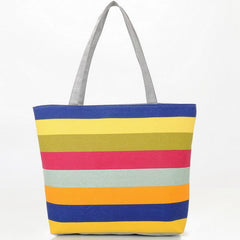 Summer Striped Canvas Tote Bag