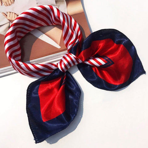 Women Elegant Silk Square Neckerchief Scarves
