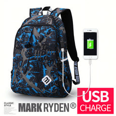 College Waterproof Nylon USB Port Backpack