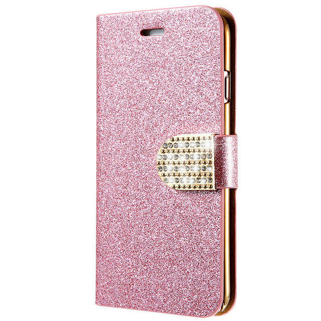 Luxury Bling Diamond Glitter Flip Case For iPhone 6 6S 7 Plus