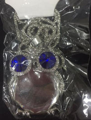 Blue Crystal Owl Rhinestone Silver Gold Pendant Necklace