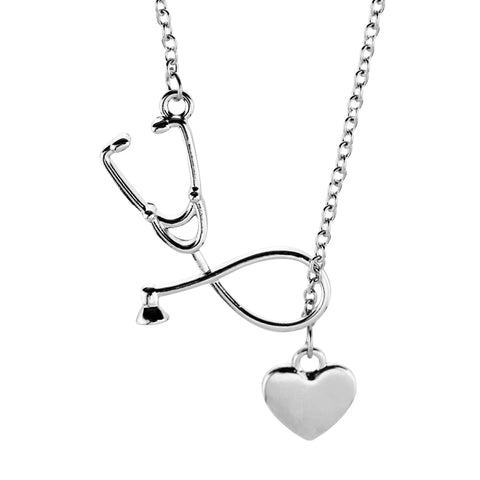 Nurses Stethoscope Heart Necklace