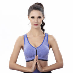 Women Push Up Seamless Front Zipper Sports Bra