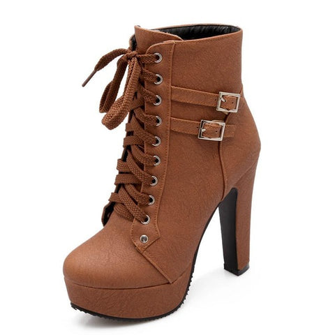 Women Leather Double Buckle High Heel Ankle Boots