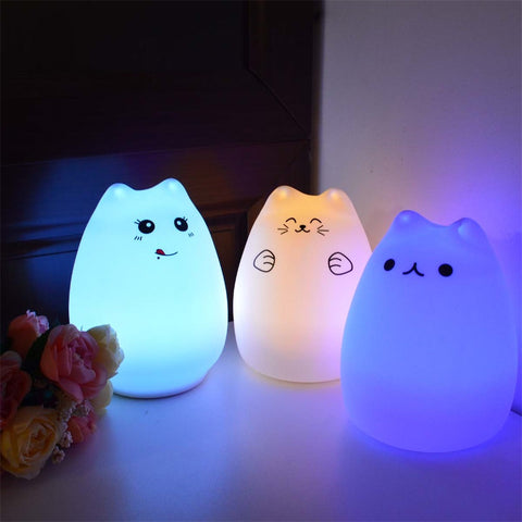 Seven Colors Touch Sensor Silicon Cat Night Lights
