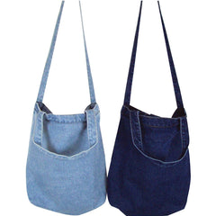 Denim Tote Organizer Shoulder Crossbody Bag