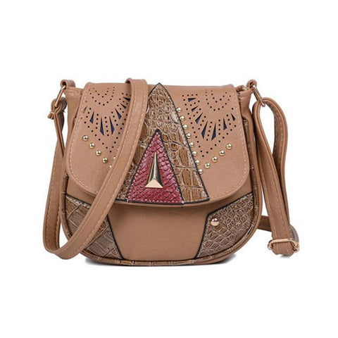 Women Hollow Patchwork Leather Handbag