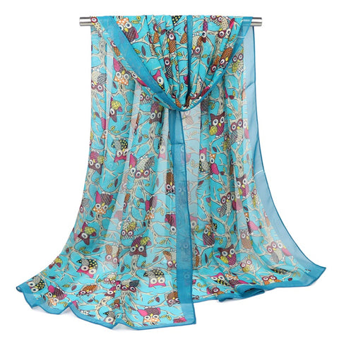 FREE Women Owl Soft Chiffon Long Scarves