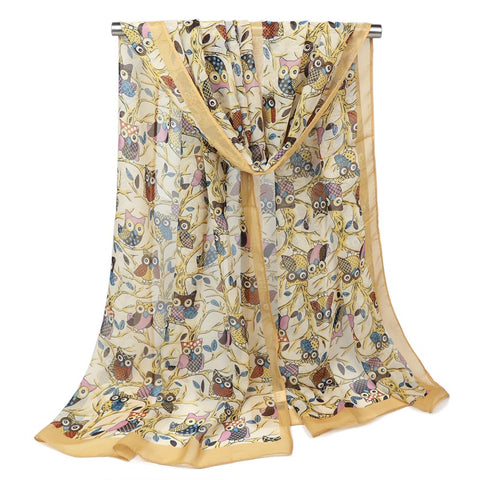 Women Owl Soft Chiffon Long Scarves