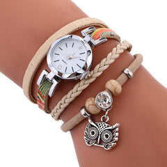 FREE Women Leather Owl Pendant Bracelet Watch