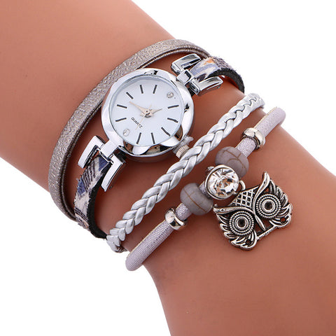 Women Leather Owl Pendant Bracelet Watch