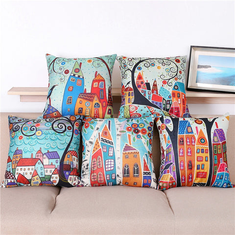 Vintage Homes Pattern Decorative Pillow Covers