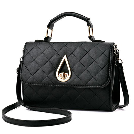 Women Top Handle Flap Leather Handbag
