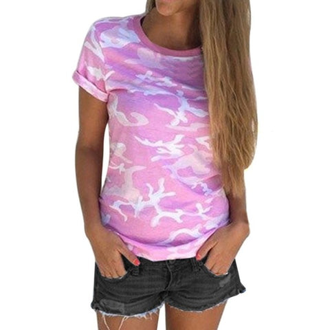 Women Camouflage Short Sleeve Tee Shirt