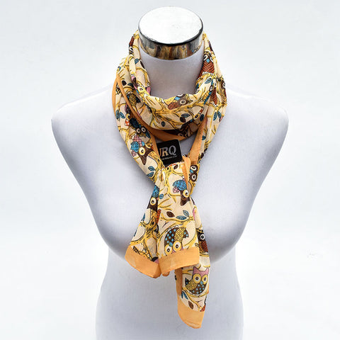 FREE Women Owl Long Chiffon Silk Scarves