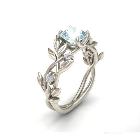Women Silver Color Leaf Branch Charms Ring
