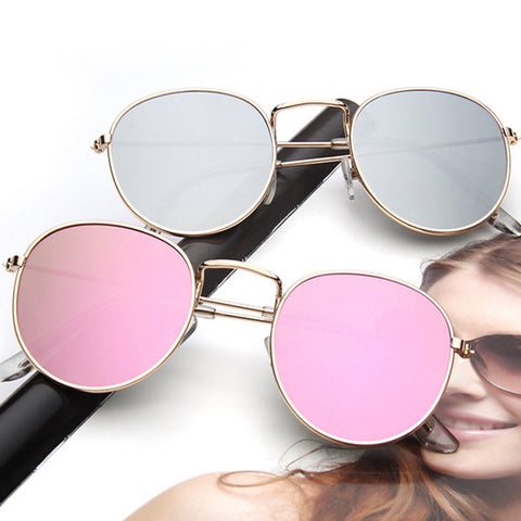 Round Designer Mirror Sunglasses For Women