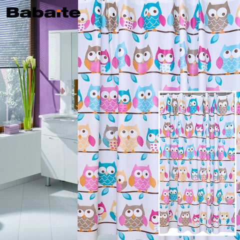 Cute Wise Owls Decor Waterproof Moldproof Bathroom Shower Curtain