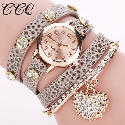 Women Fashion Bracelet Heart Pendant Watch