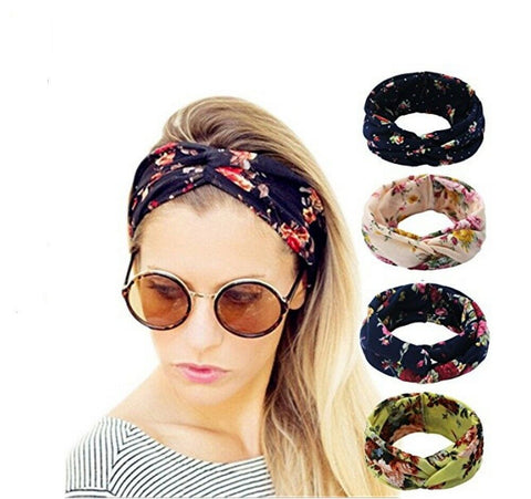 4 Pack Women Elastic Flower Printed Head Wrap Headband Twisted Hair Band