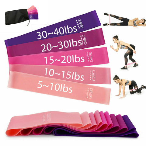 5 Multi-Color Workout Resistance Bands Loop Set Fitness Yoga Booty Leg Exercise Band