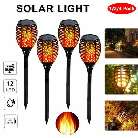 Outdoor 12LED Solar Torch Dance Flickering Flame Light Garden Waterproof Lamp US