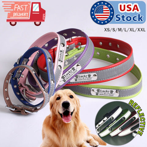Custom Personalized Dog Collar Leather Pet Name Plate Collars ID Tag XS S M L XL
